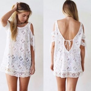 Free People Cold Shoulder White Lace Blouse
